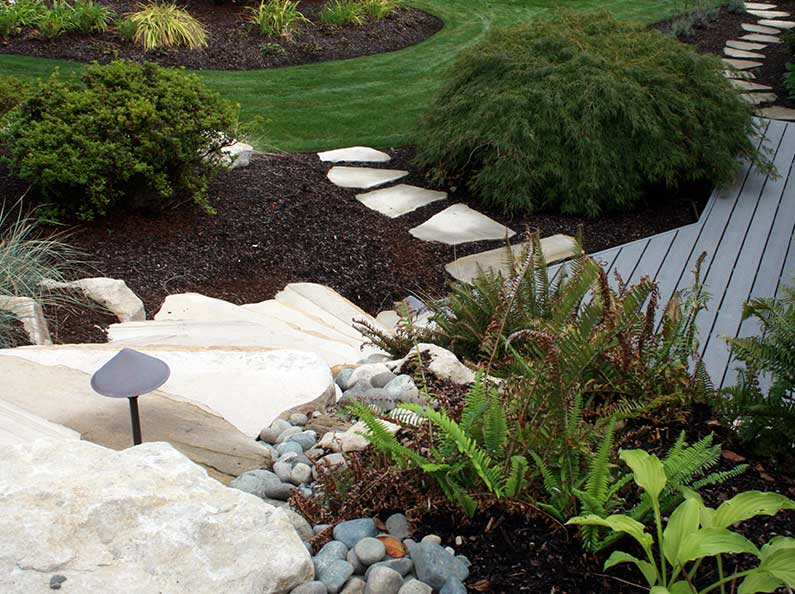 Add visual interest and accessibility with special construction features like pathways and steps.