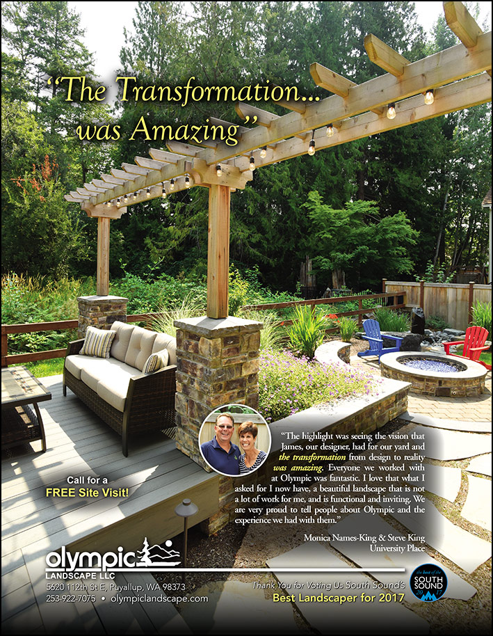 Landscape design testimonial from a University Place, WA customer as seen in South Sound Magazine.