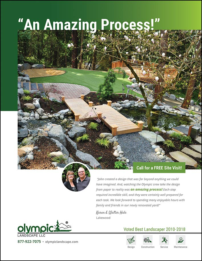 Synthetic turf testimonial from Karen and Walter Hale in Lakewood, WA - as seen in South Sound Magazine.