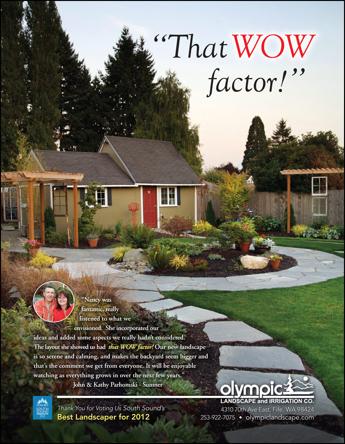 Outdoor special construction feature testimonial from a Sumner, WA customer as seen in South Sound Magazine.