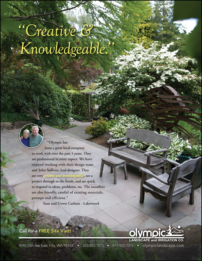 Landscape design testimonial by Stan and Gwen Carlson from Lakewood, WA as featured in South Sound Magazine.