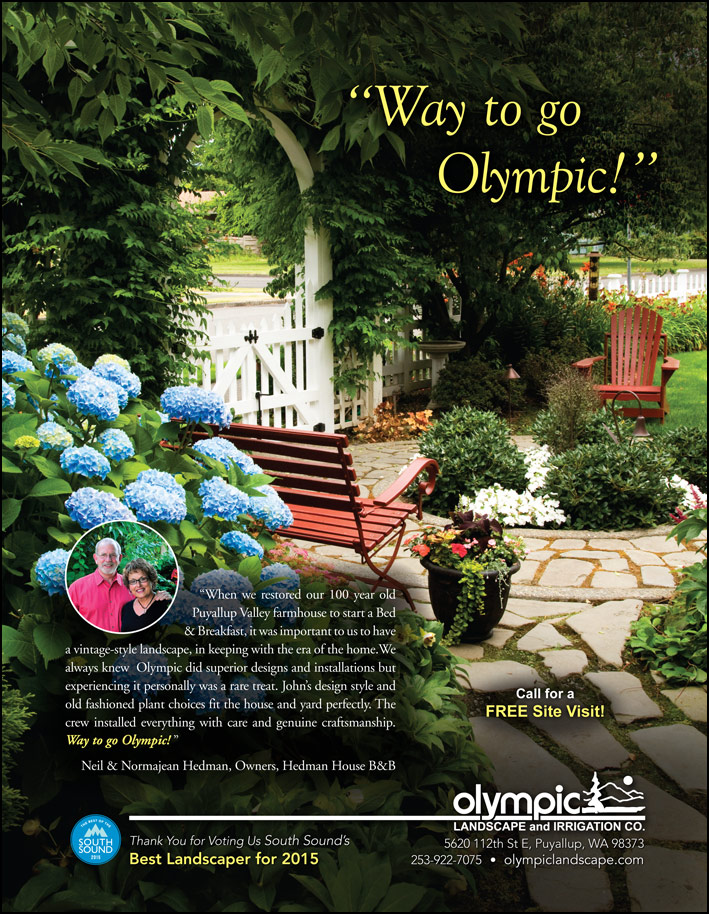 Landscape design testimonial by Neil and Normajean Hedman from Puyallup, WA as featured in South Sound Magazine.