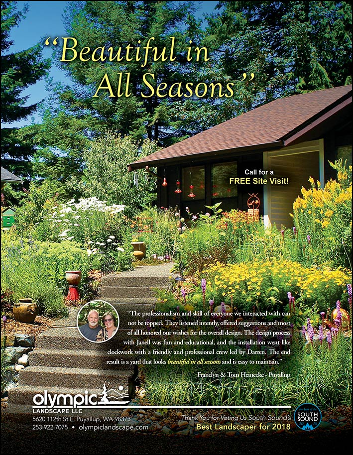Landscape design testimonial by Franclyn and Tom Heinecke from Puyallup, WA as featured in South Sound Magazine.