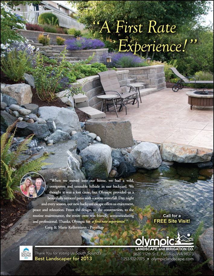 Landscape design testimonial by Greg and Marie Kellermann from Puyallup, WA as featured in South Sound Magazine.