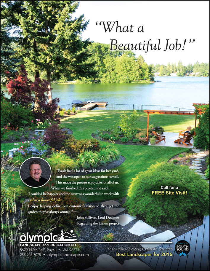 Landscape design testimonial from a customer - as featured in South Sound Magazine.