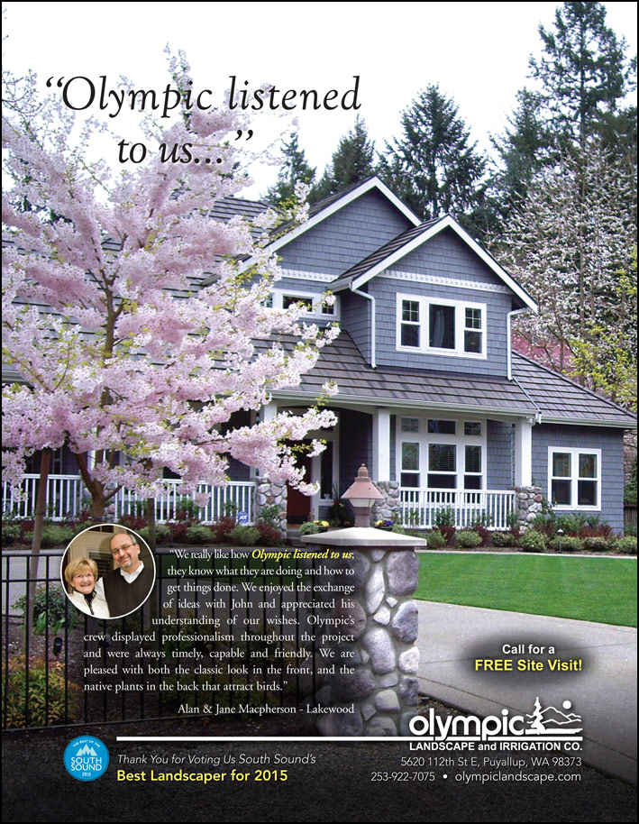 Landscape design testimonial by Alan and Jane Macpherson from Lakewood, WA as featured in South Sound Magazine.