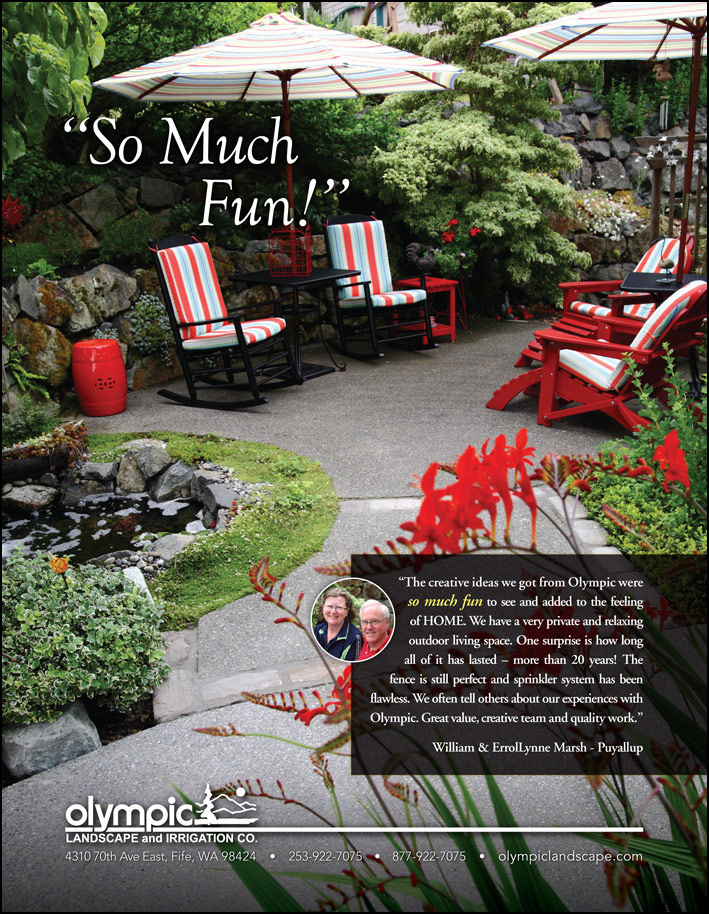 Puyallup, WA landscape design testimonial from a customer - seen in South Sound Magazine.