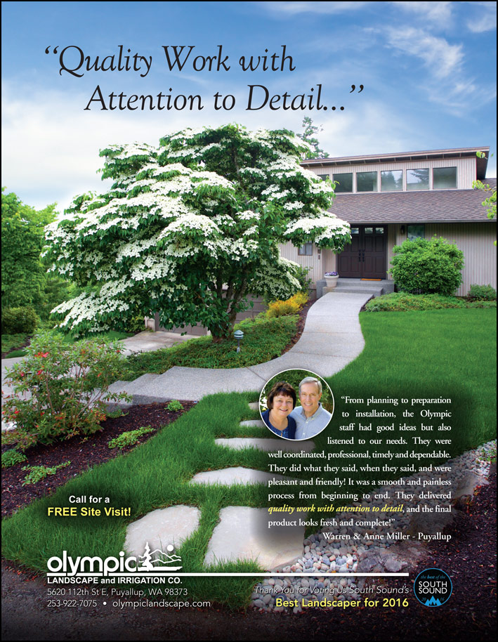Landscape design testimonial by Warren and Anne Miller in Puyallup, WA as featured in South Sound Magazine.