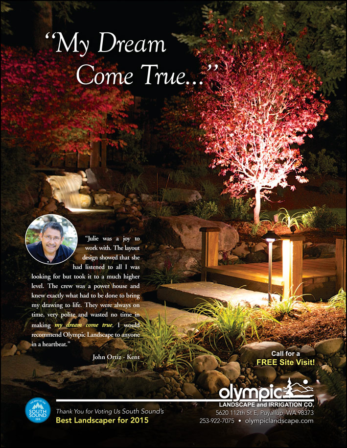 Landscape design testimonial by John Ortiz from Kent, WA as featured in South Sound Magazine.