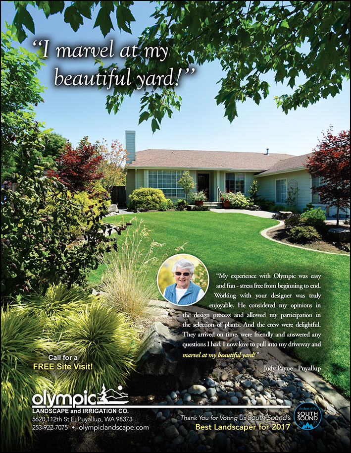 Landscape design testimonial by Judy Payne in Puyallup, WA as featured in South Sound Magazine.
