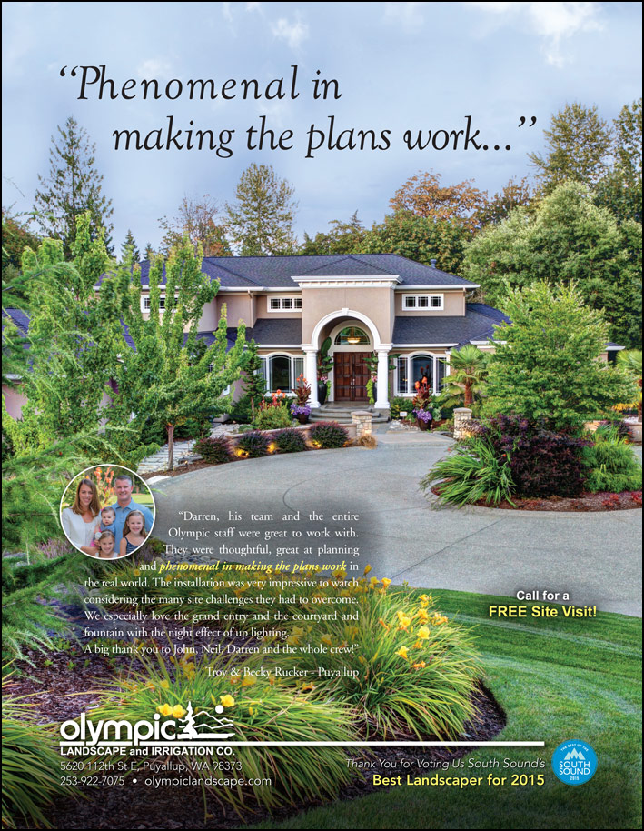 Landscape design testimonial by Troy and Becky Rucker from Puyallup, WA as featured in South Sound Magazine.