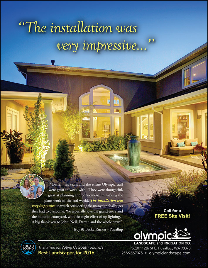 Landscape design testimonial by Troy and Becky Rucker in Puyallup, WA as featured in South Sound Magazine.
