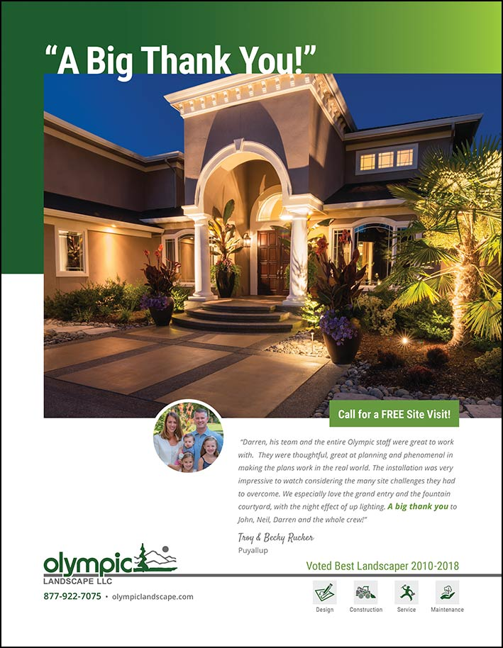 Landscape design testimonial by Troy & Becky Rucker in Puyallup, WA as featured in South Sound Magazine.