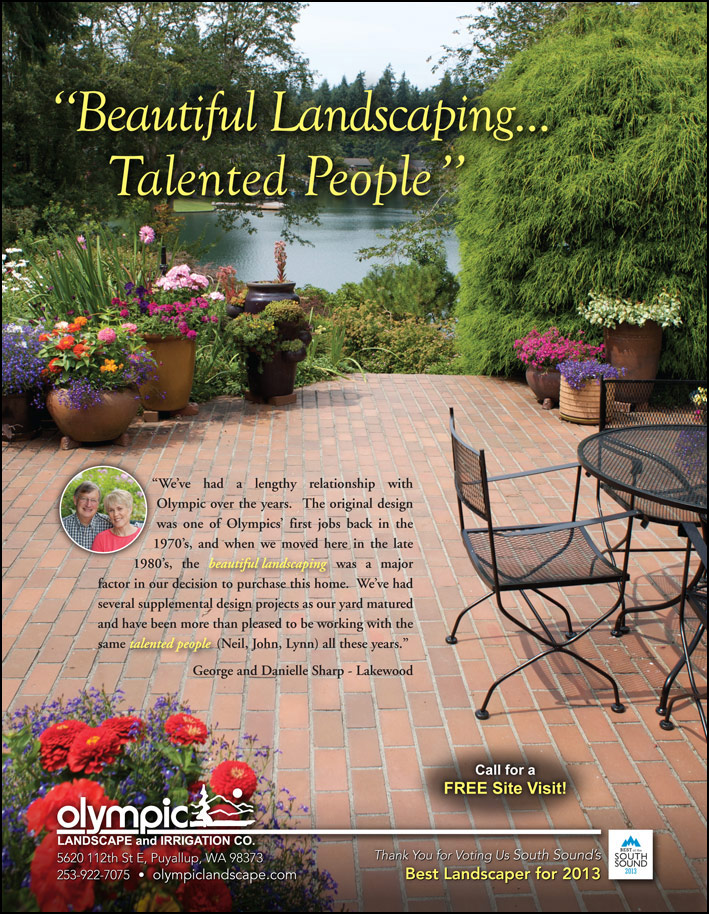 Landscape design testimonial by George and Danielle Sharp from Lakewood, WA as featured in South Sound Magazine.