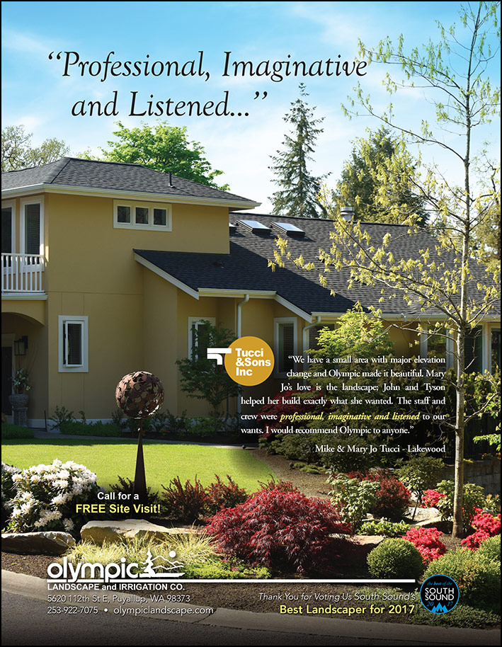 Landscape design testimonial by Mike and Mary Jo Tucci in Lakewood, WA as featured in South Sound Magazine.