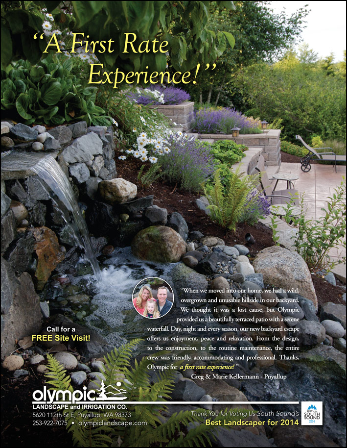 Water feature testimonial from a Puyallup, WA customer as seen in South Sound Magazine.